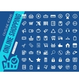 mega collection outline shopping icons online vector image vector image