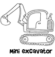 Mini excavator with hand draw vector image vector image