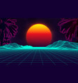 palms retro on purple background vintage computer vector image