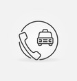 phone with taxi car concept simple outline vector image vector image