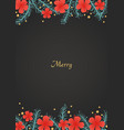 pine leaves and red hibiscus flower frame vector image vector image