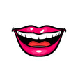 pink red woman lips in pop art style vector image vector image