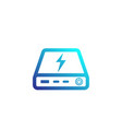 power bank icon portable charger on white vector image vector image