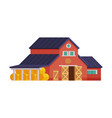 red house barn with hay bales traditional wooden vector image vector image
