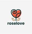 rose flower love heart valentine logo icon vector image