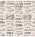 seamless pattern with burgers in graphic style vector image vector image