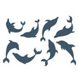 set blue silhouette dolphin cartoon sea animal vector image vector image