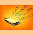smartphone playing music with floating notes vector image