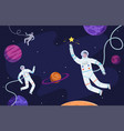 space background astronaut in suit working on vector image