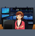 stock trader in front of multiple monitors vector image