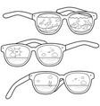 summer beach scene reflected in sunglasses vector image