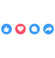 thumb up heart comment repost icons vector image