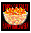 trick or treat happy halloween bowl and candy
