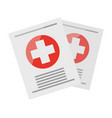 two sheets with medical information vector image