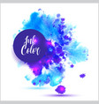 watercolored splash blot in blue and violet color vector image vector image