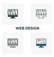 web design icon set four elements in different vector image vector image