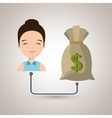 woman with bag money isolated icon design vector image