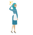 young muslim cleaner with lightning over head vector image vector image