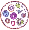 Hand-drawn needlework elements vector image