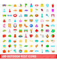 100 outdoor rest icons set cartoon style vector image vector image