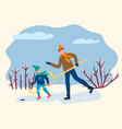 activity dad and son playing hockey vector image