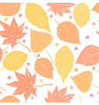 autumn ink hand drawn leaves seamless pattern vector image