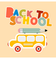 Back to School Colorful Title with Yellow Bus vector image vector image