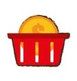 basket buy coin dollar sketch vector image vector image