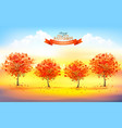 beautiful autumn nature background with trees and vector image vector image