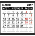 calendar sheet March 2017 vector image