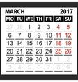 calendar sheet March 2017 vector image vector image