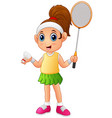 cartoon girl playing badminton vector image vector image
