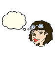cartoon happy woman wearing aviator goggles with vector image