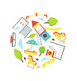 cartoon playground element round design template vector image vector image
