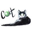 cat watercolor vector image vector image