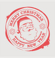 christmas round stamp with a happy santa claus vector image vector image