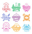 cooking classes labels logos set best chef emblem vector image vector image