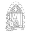 cute princess looks out a castle window vector image vector image