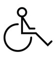 disability wheel chair icon with outline style vector image vector image