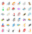 drawing icons set isometric style vector image vector image