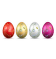 easter egg 3d icon bright eggs set isolated white vector image