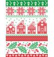 festive pattern gingerbread houses acorns leaves vector image