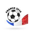 Football ball with France flag scribble effect vector image vector image
