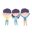 group young people cartoon characters on white vector image