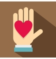 Hand with heart icon flat style vector image vector image