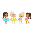 happy pool party multiracial girl character set vector image