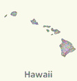 Hawaii line art map vector image vector image