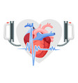 human heart modern defibrillator and piece of vector image vector image