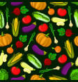 icons of vegetables in seamless pattern vector image vector image