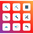 industrial icons colored set with pliers welding vector image